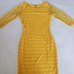 Gianni Bini Yellow Striped Bodycon Dress XS